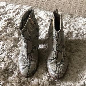 Joie snakeskin booties